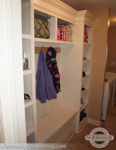 Mudroom cubbies provide organized storage