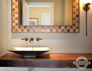 rustic powder room created by normandy designer leslie lee