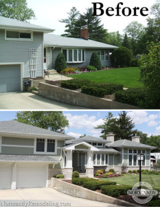 Split level home before and after addition