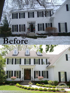 Colonial house before and after portico addition