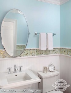 blue powder room created by Normandy Designer Ann Stockard