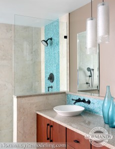 vessel sinks in master bathroom created by Normandy Designer Ann Stockard
