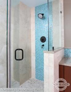 blue tile shower ideas created by Normandy Designer Ann Stockard