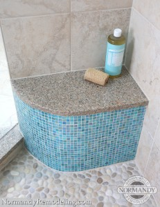 curved bench in shower created by Normandy Designer Ann Stockard