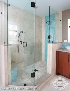 glass shower doors idea with bench created by Normandy Designer Ann Stockard