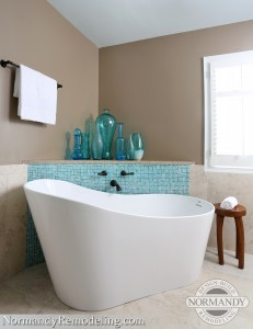 blue tile mosaic in bathroom with freestanding tub created by Normandy Designer Ann Stockard
