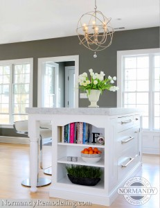 shelving in kitchen island ideas created by normandy designer stephanie bryant