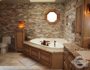 bathroom floor ideas that look like natural stone created by Normandy Designer Heather Dalskov