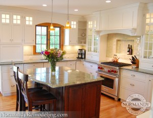 stained trim and white cabinets