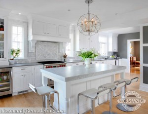 white and gray kitchen remodeling created by Normandy Designer Stephanie Bryant
