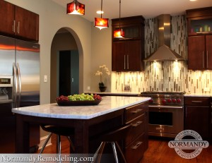 dark cabinets with light countertops created by Normandy Designer Troy Pavelka