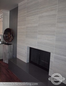 tile fireplace and wall created by Normandy Designer Karen Chanan