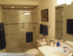 basement shower with glass door created by Normandy Designer John Long