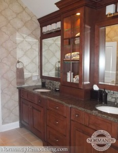 Double vanity cabinet in bathroom created by Normandy Designer Laura Barber AKBD