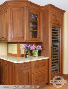 beverage center with wine refrigerator created by Normandy Designer Gary Cerek