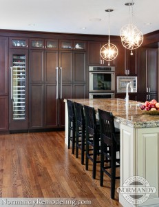 Wine refrigerator in kitchen created by Normandy Designer Stephanie Bryant