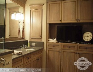 Open cabinet with television