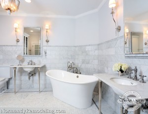 gray white bathroom by normandy designer chris ebert
