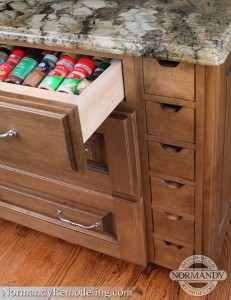 Angle cabinet drawer insert for spices and seasonings