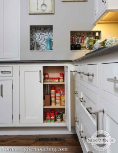 Small kitchen cabinet for spice storage