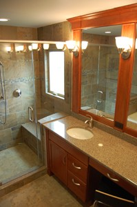 shaker style bathroom with free standing shower with a window