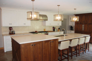 Dual Level Island Kitchen in Transitional Style