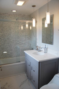 Soothing Gray Tones for this Bathroom Remodel