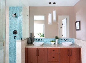 Pops of Color for Contemporary Hinsdale Bathroom Remodel