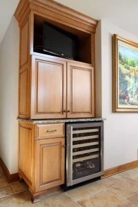 Television incorporated into a traditional kitchen