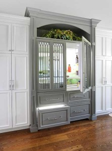 built in refrigerator with antique mirror finish