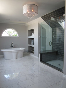 bathroom with bathtub and large shower