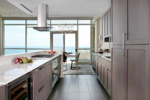 Modern kitchen with view of Lake Michigan