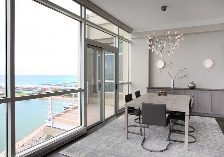 View of Lake Michigan in a Chicago Condo Dining Room