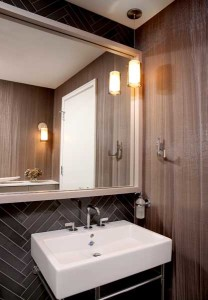 Modern Chicago powder room with console sink