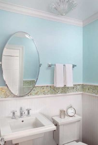 Powder Room Sparkles with Colorful Tile Accents