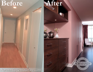 Hallway before and after photo