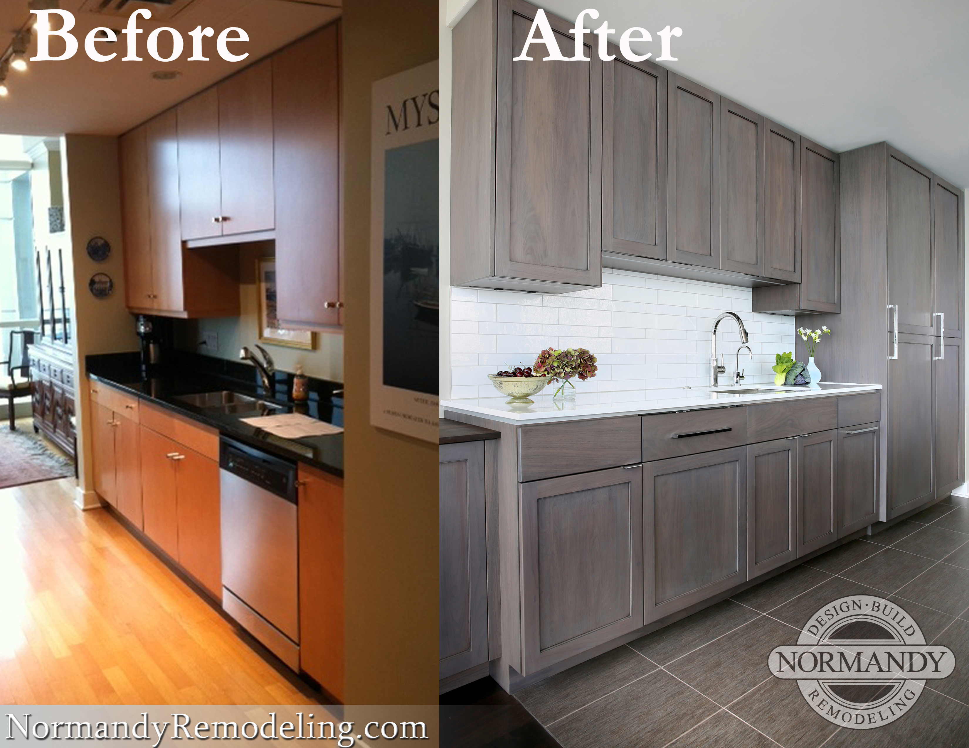 Kitchen before and after photo