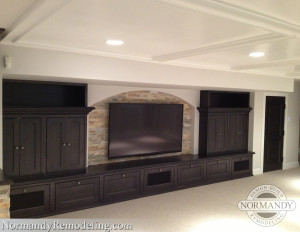 Ledger stone incorporated into entertainment system