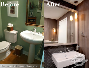Powder room before and after photo