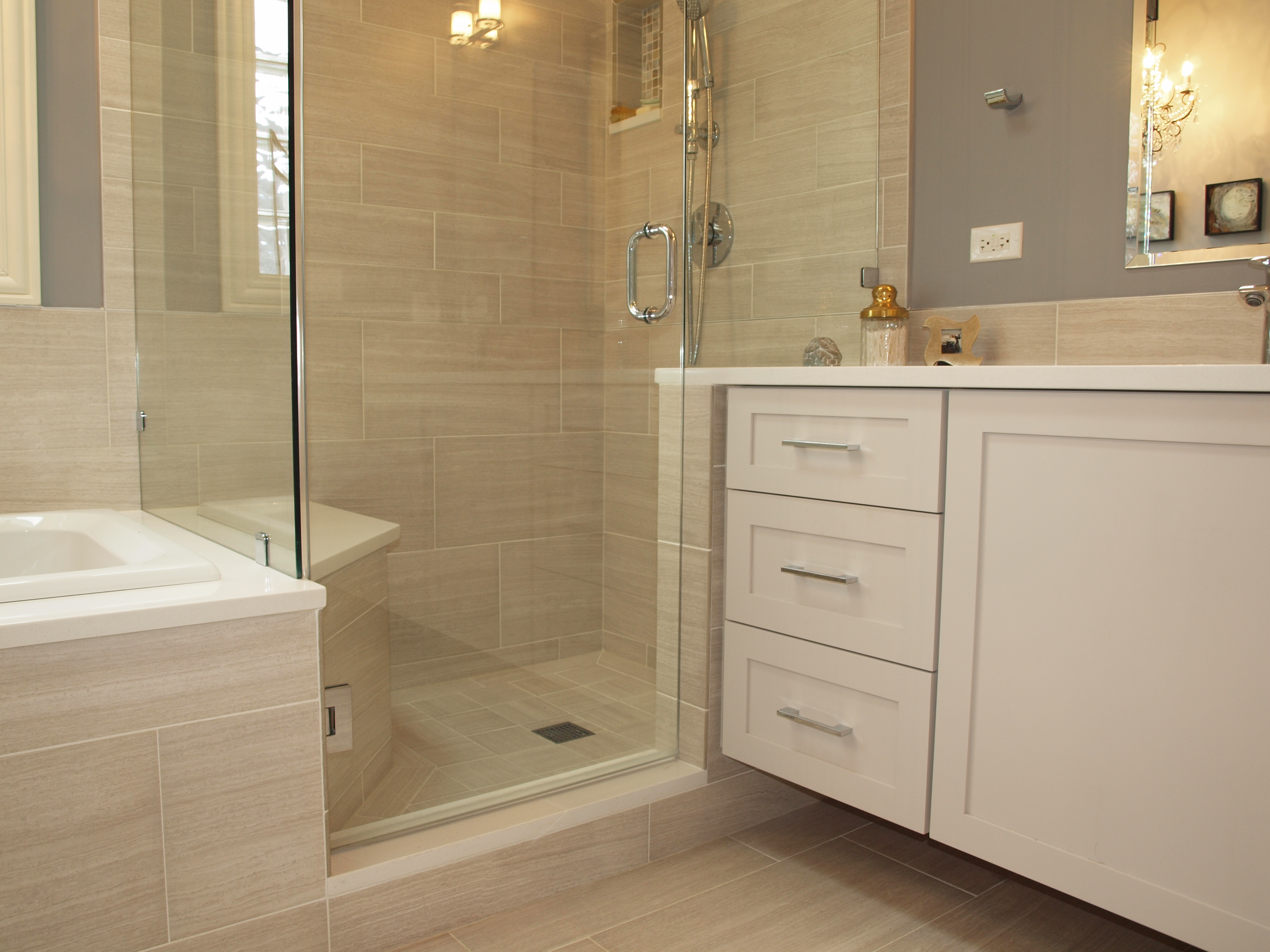 Bathroom Remodeling Idea Integrated Bathtub And Shower Bench Normandy Remodeling