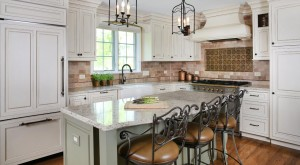 island seating in traditional off white kitchen