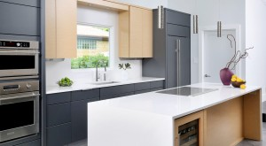 Modern kitchen with waterfall style countertop edge