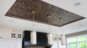 tin ceiling in the kitchen