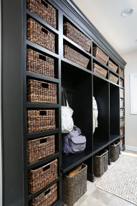 mudroom with lockers and baskets for storage