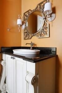 Petite Powder Room has Plenty of Traditional Style