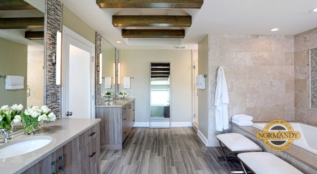 spa inspired master bathroom with two vanities and ceiling beams