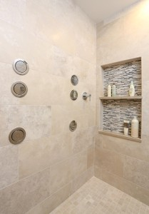 large master shower with two sets of body sprays