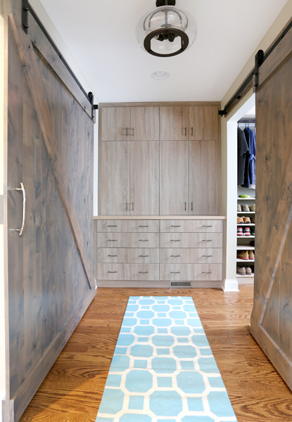 built in cabinets as part of the master bedroom closet