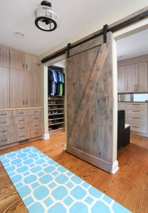 Sliding barn door on master closet