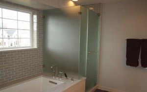 frosted glass shower enclosure for privacy
